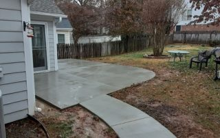concrete patio and sidewalk poured for a local customer